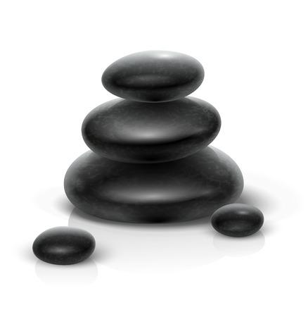 Spa stones black heap. Eps10 vector illustration. Isolated on white background