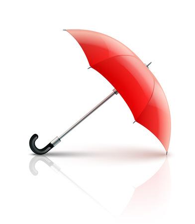 guarding: Red umbrella. Eps10 vector illustration. Isolated on white background