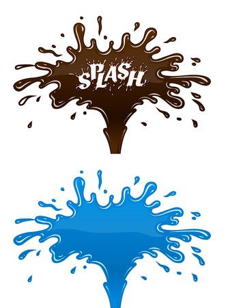 agua splash: Chocolate y salpicaduras de agua con gotas y blot. Ilustraci�n vectorial Eps10