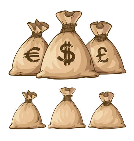 bag cartoon: Cartoon full sacks with money. Eps10 vector illustration. Isolated on white background