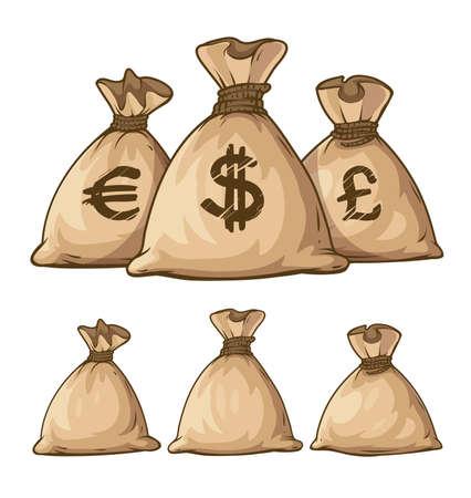 efectivo: Cartoon sacos llenos con dinero. Ilustración vectorial Eps10. Aislado en el fondo blanco