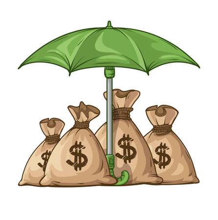 guarding: Umbrella protecting sacks with money currency euro.   vector illustration. Isolated on white background