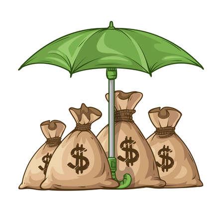 sacks: Umbrella protecting sacks with money currency euro.   vector illustration. Isolated on white background