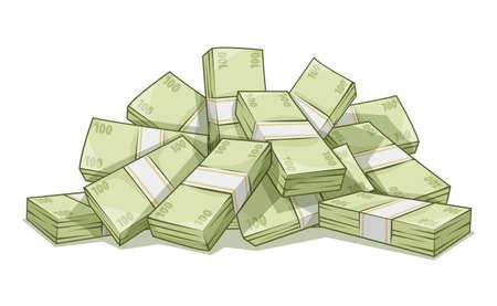 cash money: Cerro de los haces con el dinero. Vectores