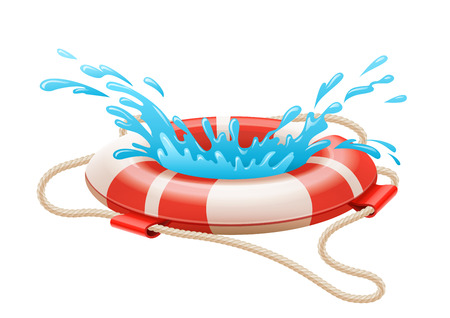 drowning: Life buoy for drowning rescue on water. Eps10 vector illustration. Isolated on white background
