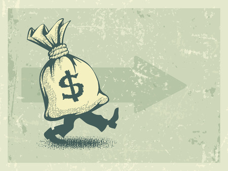 pacing: Full sack of money walking forward in retro style. Eps10 vector illustration