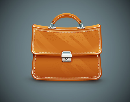 leather briefcase: Leather briefcase. Eps10 vector illustration on dark background