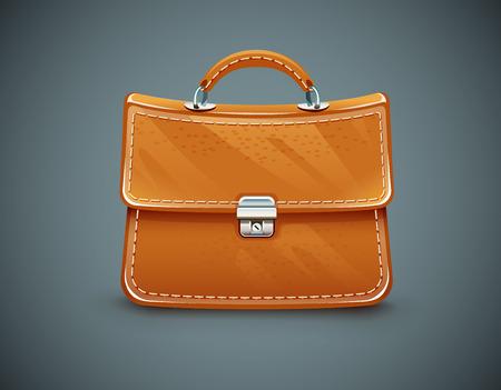authoritative: Leather briefcase. Eps10 vector illustration on dark background