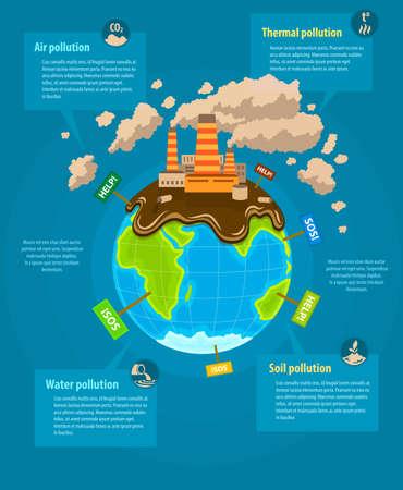mundo contaminado: Ecolog�a concepto infograf�a planeta Tierra ecocatastrophe industrial. Ilustraci�n vectorial Eps10. Vectores