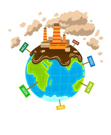 mundo contaminado: Mundial ecocatastrophe planeta poluci�n. Ilustraci�n vectorial Eps10. Aislado en el fondo blanco Vectores