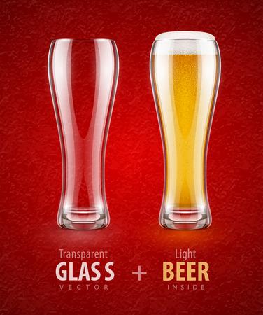 vasos de cerveza: Cerveza en el vaso y vaso transparente vacío para bebidas. Ilustración vectorial Eps10. Vectores
