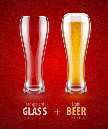 Beer in the glass and empty transparent goblet for drinks. Eps10 vector illustration. Illustration