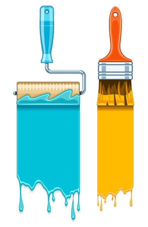 rollers: Sale banners with maintenance tools brushes and rollers for paint works. Eps10 vector illustration. Isolated on white background