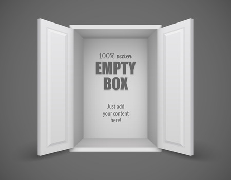 open doors: Caja vacía con las puertas abiertas nada dentro. ilustración vectorial