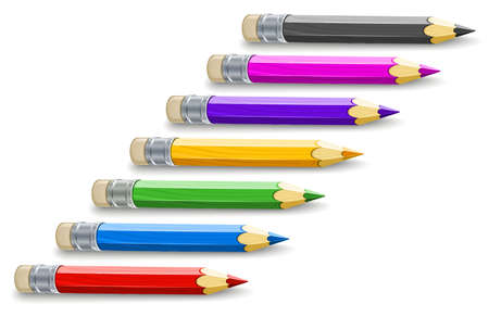colour pencils: Set of colour pencils for drawing. Eps10 vector illustration. Isolated on white background