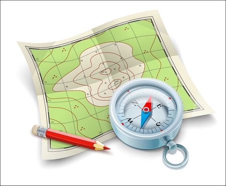 hillock: Compass map and pencil for tourism travel. Eps10 vector illustration. Isolated on white background