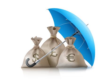 sacks: Umbrella protecting sacks with money currencies dollar euro and pound. Eps10 vector illustration. Isolated on white background