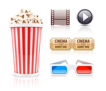 cinematograph: Cinema and movie icons set. Eps10 vector illustration. Isolated on white background Illustration