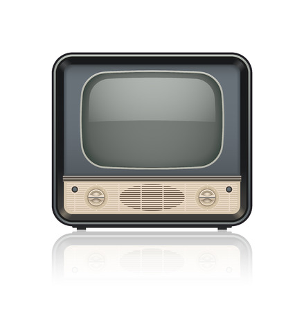 motion picture: Vintage retro tv set icon. Eps10 vector illustration. Isolated on white background Illustration