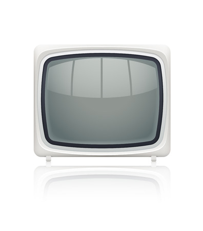 kinescope: Retro display monitor for personal computer with blank screen.  Illustration