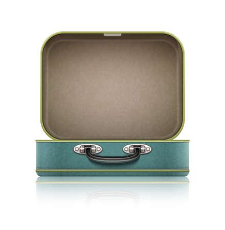 tronco: Abra vieja maleta vintage retro para viajar. Vectores