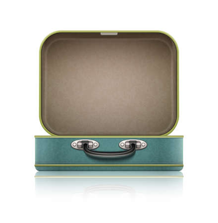 case: Open old retro vintage suitcase for travel.
