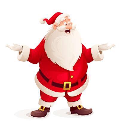 papa noel: Papá Noel que vomitan las manos. Ilustración vectorial Eps10. Aislado en el fondo blanco