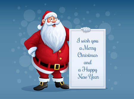 santa suit: Merry Santa Claus standing with christmas greetings banner in arm. Eps10 vector illustration Illustration