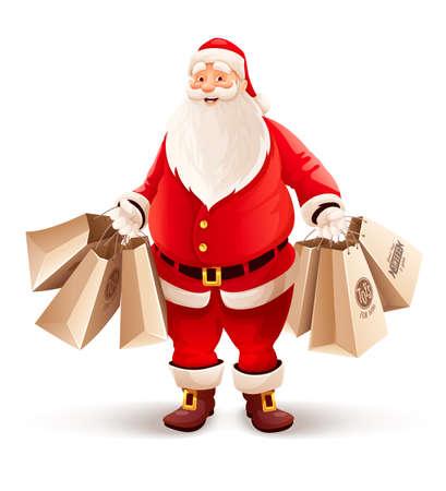 papa noel: Feliz Santa Claus con bolsas de la compra compra regalos y dulces para la Navidad. eps10 ilustración vectorial. Aislado en el fondo blanco