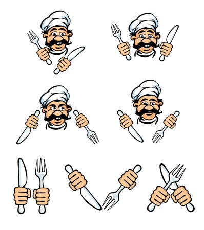 rasterized: cook face with knife and fok rasterized vector illustration Stock Photo