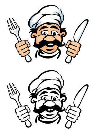 rasterized: cook face with knife and fork rasterized vector illustration Stock Photo