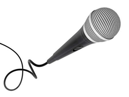 sounding: microphone flying for professional singing isolated object  Stock Photo