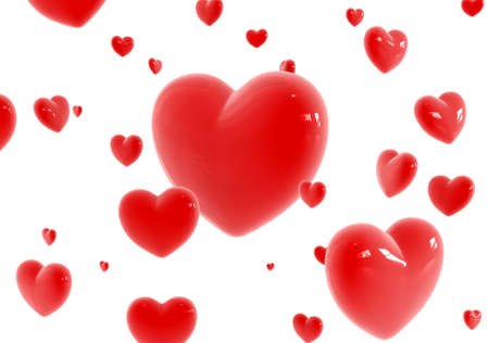 fillings: Red glossy hearts flying over white background Stock Photo