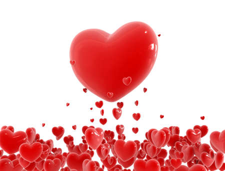 give out: Red hearts flying out from little hearts cloud Stock Photo