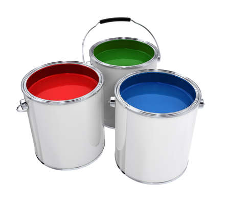 Buckets with paint different colors isolated high quality 3d model illustration