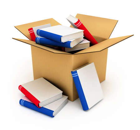 institute: cardboard box full of books with blank covers isolated high quality 3d model illustration Stock Photo