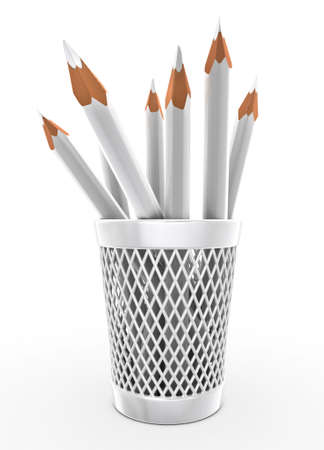 sharpened: White pencils in the bucket isolated over white 3d illustration