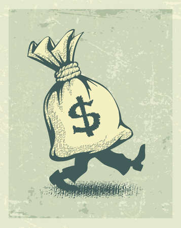 pacing: Full sack of money sign dollar with legs walking in retro style. Eps10 vector illustration Illustration