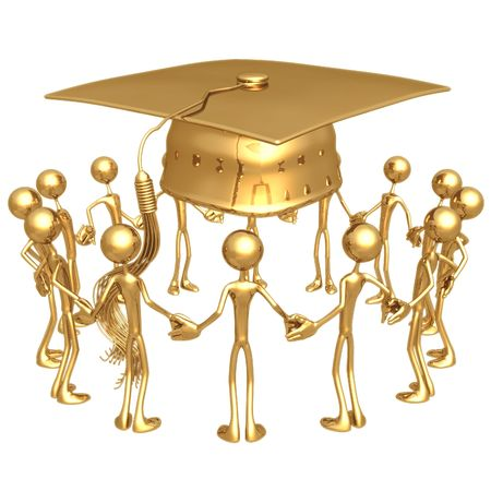 joined hands: Graduation Group Stock Photo