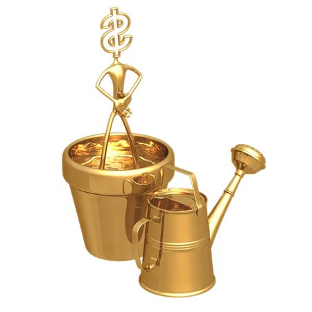plant pot: Cultivate Wealth Dollar Stock Photo