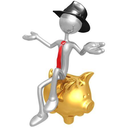 Businessman Sitting On Piggy Bank photo