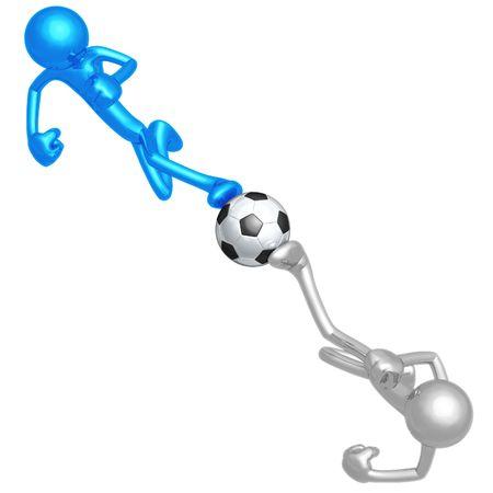Soccer Football Dueling Kick Stock Photo