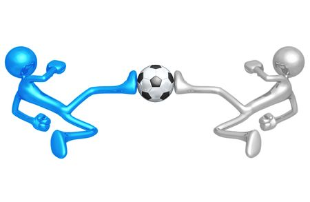 dueling: Soccer Football Dueling Kick Stock Photo