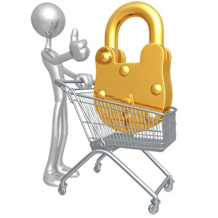 secure: Secure Shopping Cart Stock Photo