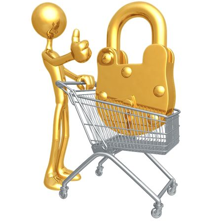 shopping cart icon: Secure Shopping Cart Stock Photo