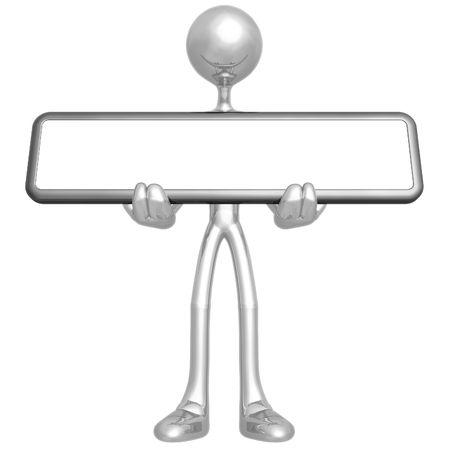 3d cg: Holding Blank Sign