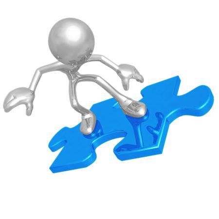 art piece: Puzzle Piece Surfing Stock Photo