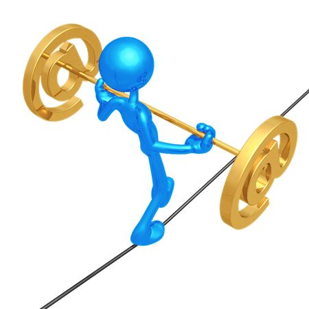 rope walker: Tightrope Email Stock Photo