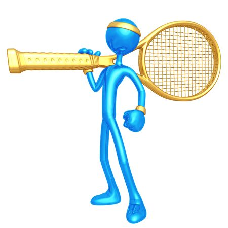 Tennis Player With Giant Racquet Stock Photo