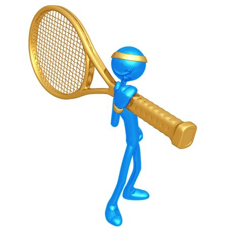 racquet: Tennis Player With Giant Racquet Stock Photo